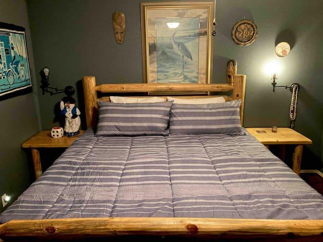 New custom made log king bed!