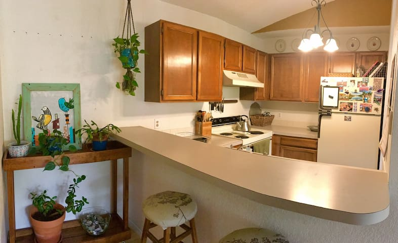 Kitchen with countertop bar