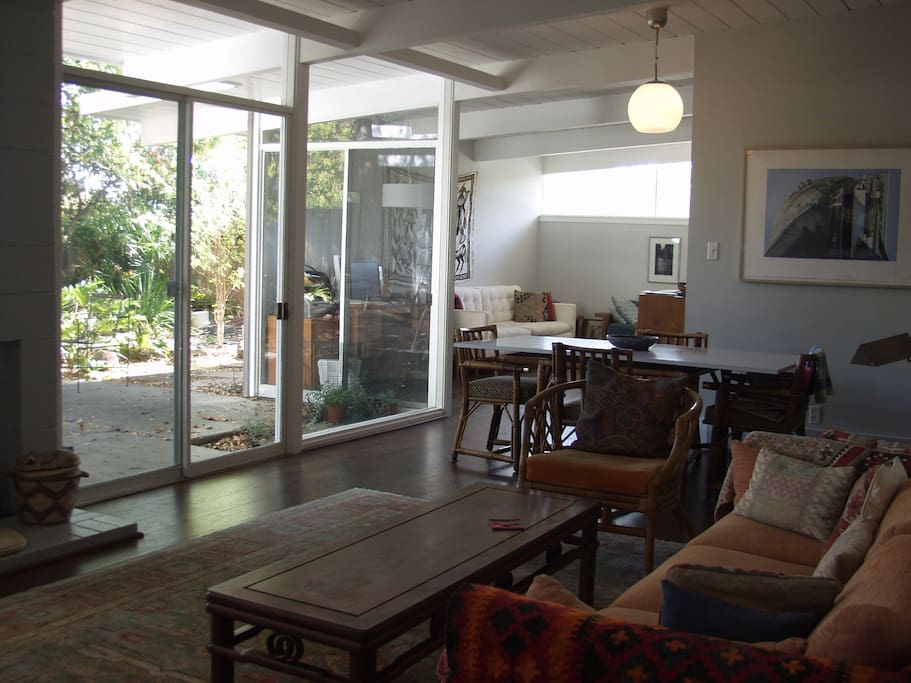I left the previous photo since it has the advantage of the wide angle view. Here is the living area with my furniture.