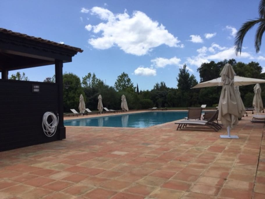 Pool 20m (behind trees in the background are tennis courts and gym.