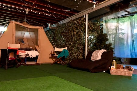 Unique Indoor Camping and Movie Theater Experience