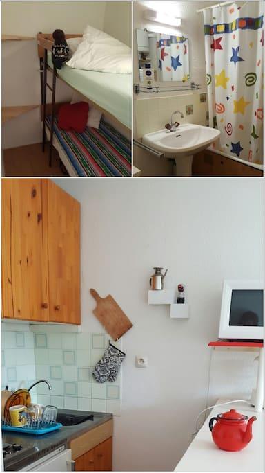Literas, baño y cocina