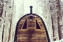 Our rustic hut from the back, looking out at our snow covered woods.