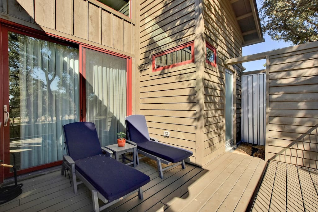 Relax out on the deck at this Reserve at Lake Travis cabin, professionally managed by TurnKey Vacation Rentals.