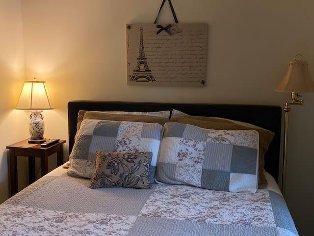 Queen bed, comfy memory foam mattress.