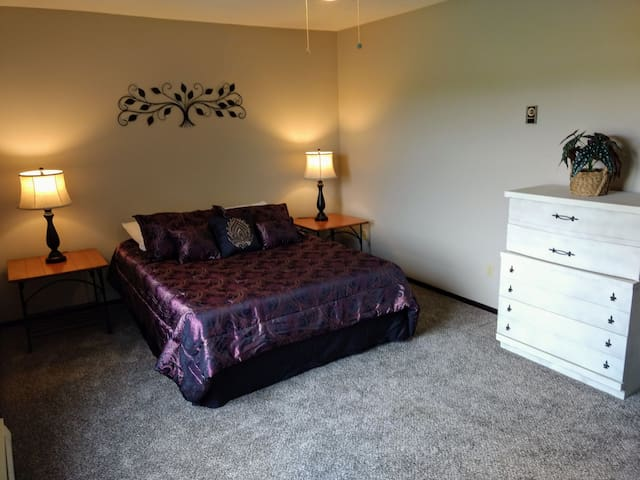 Master bedroom, 2 full closets with iron and ironing board.