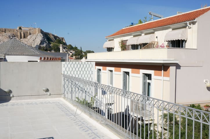 The private roof terrace with Acropolis view