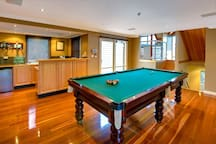 The room our male guests love, pool table and open fire
