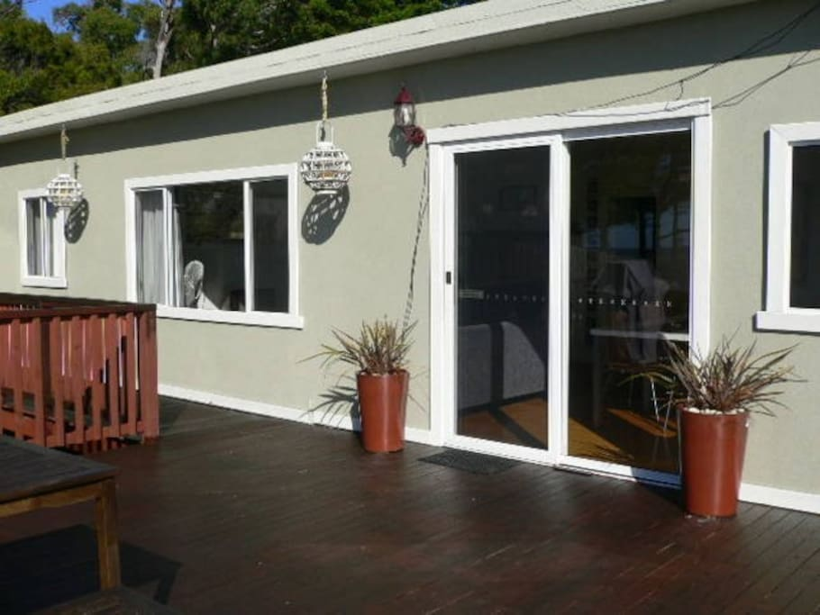 Large north facing sunny deck