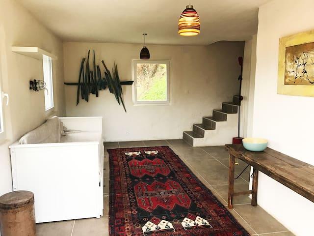 chambre N° 1 en bas avec canapé convertible 2 place et salle de bain privative