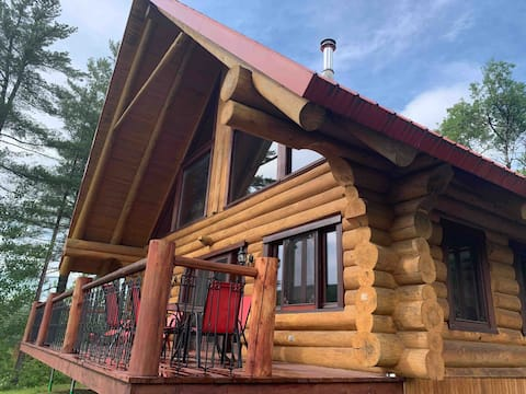 Log cabin with fireplaces