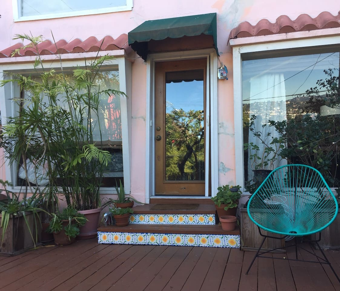 Private patio and entry to the studio.