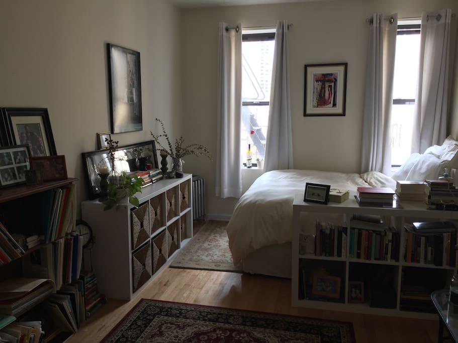 dresser, book and music shelves