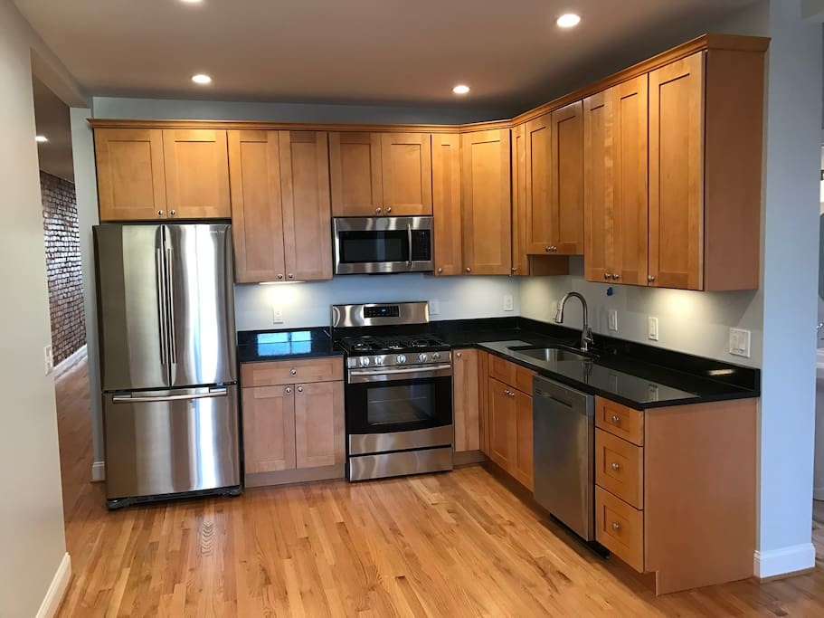 Open floor kitchen with all new appliances after new renovation.