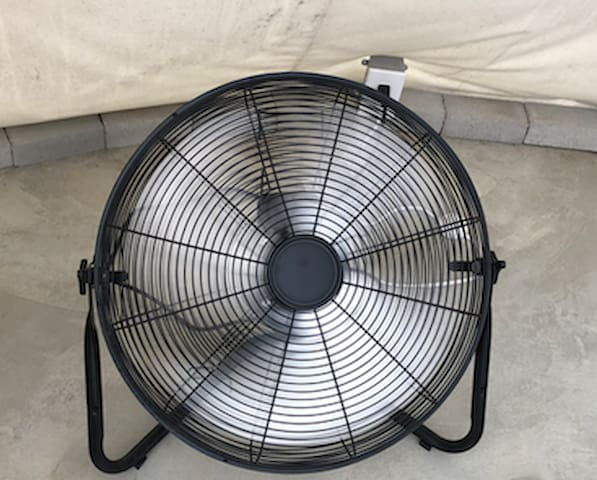 20-inch fan to cool off during warm months. No AC in tipi but we do have 5 tipis w/ portable AC units. In winter months all beds come with heated blankets.