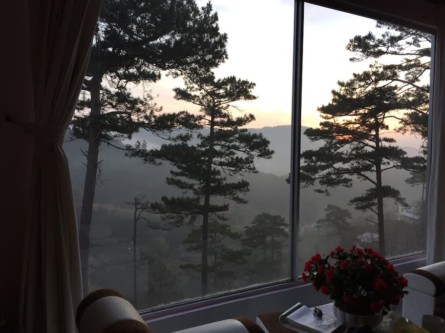 watching the sunrise from your bed
