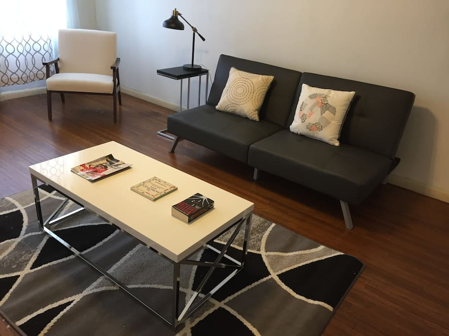 LIVING ROOM WITH FOLD-OUT COUCH/ BED