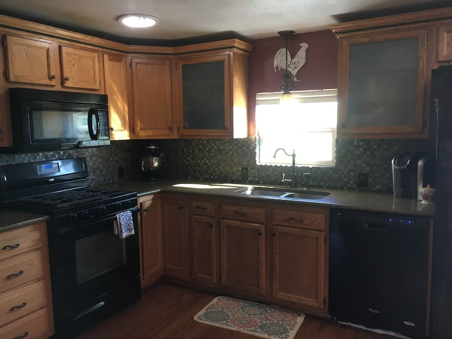 Large kitchen with eat in breakfast bar