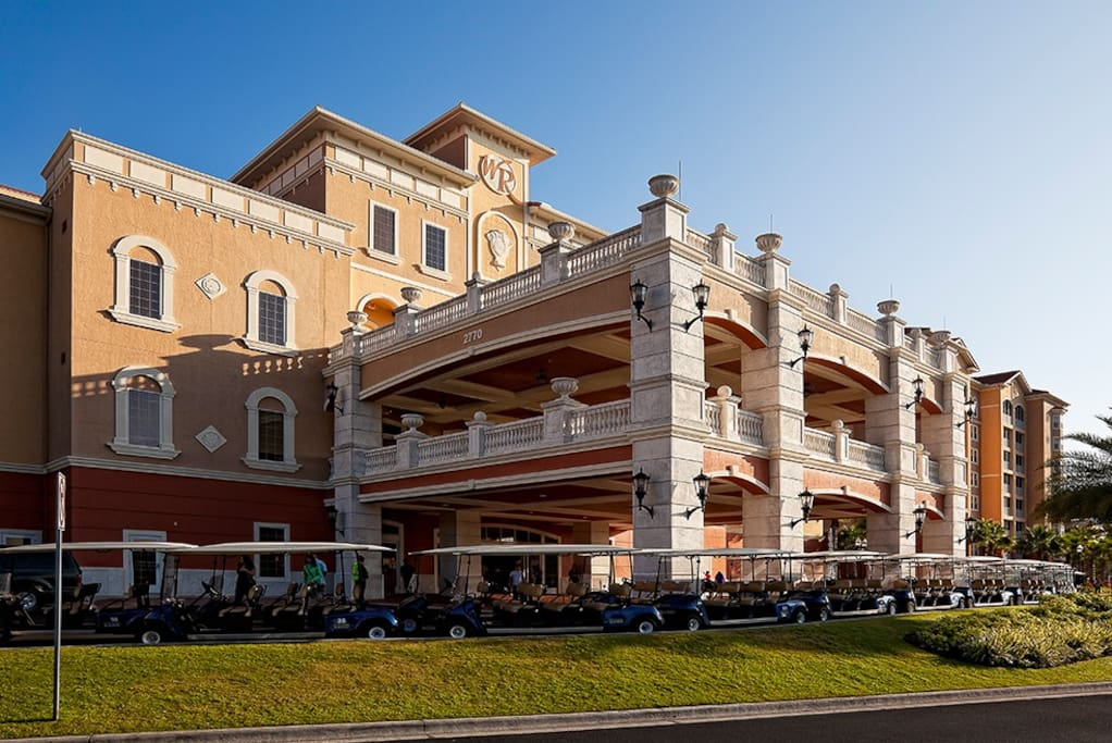 Main Resort Building. This is where guests check in/out and within it is the Disney Theater, VIP desk, Desks to purchase tickets to the various theme parks and/or purchase souvenirs.
