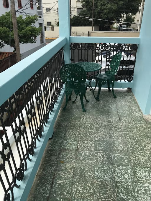 Gated Private balcony with bistro set to have morning coffee or evening wine.