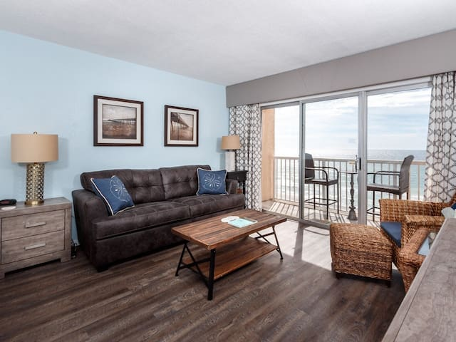 Updated Beachfront Condo, Beach Setup Included, Quick Drive To Entertainment