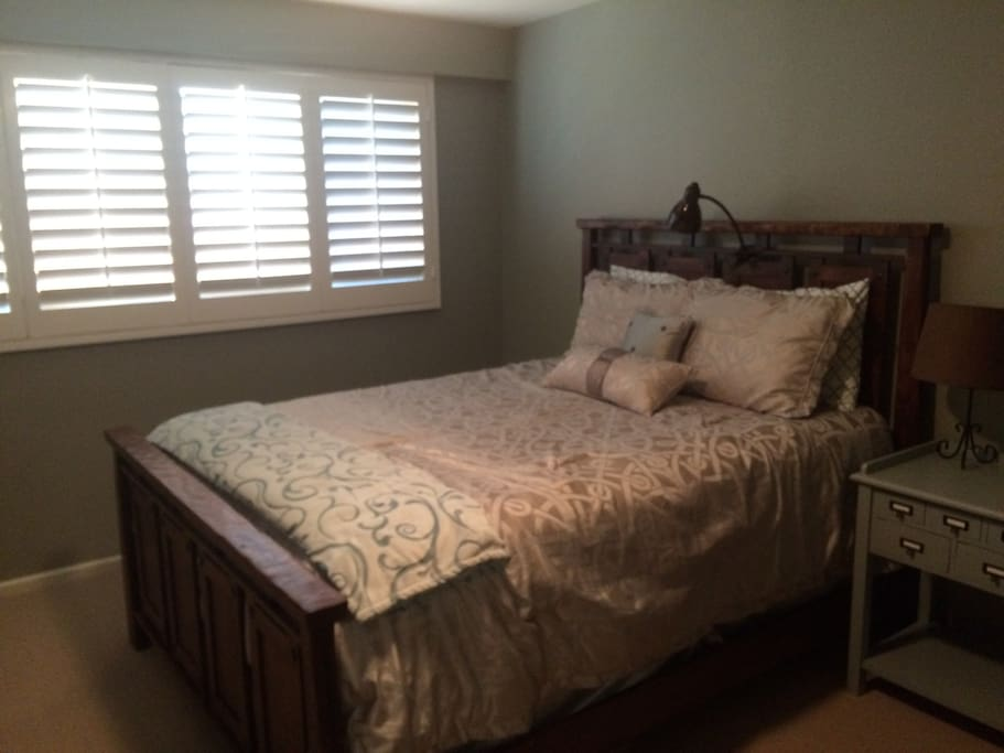 Queen Bed with Privacy Wooden Shutters