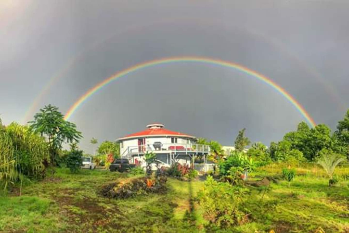 The double rainbow blesses this 16 sided custom designed home