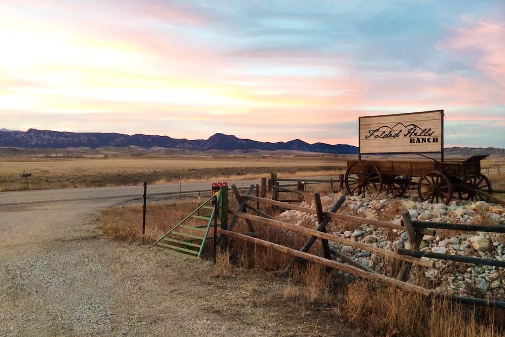 Folded Hills Ranch entrance sign.