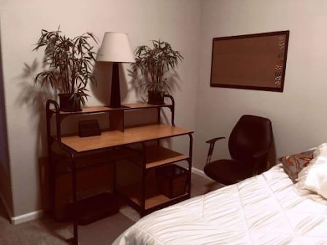 Desk, Chair, Cork Bulletin Board, Lamp, Silk Bamboo