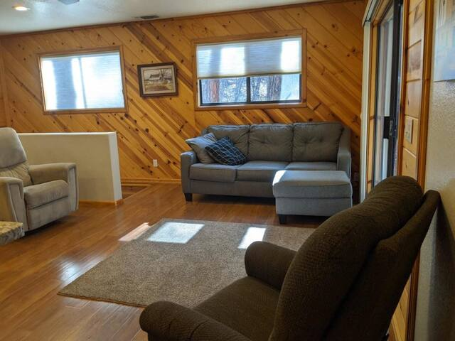 Pull out bed under the couch. Upstairs chairs to lounge around and chat