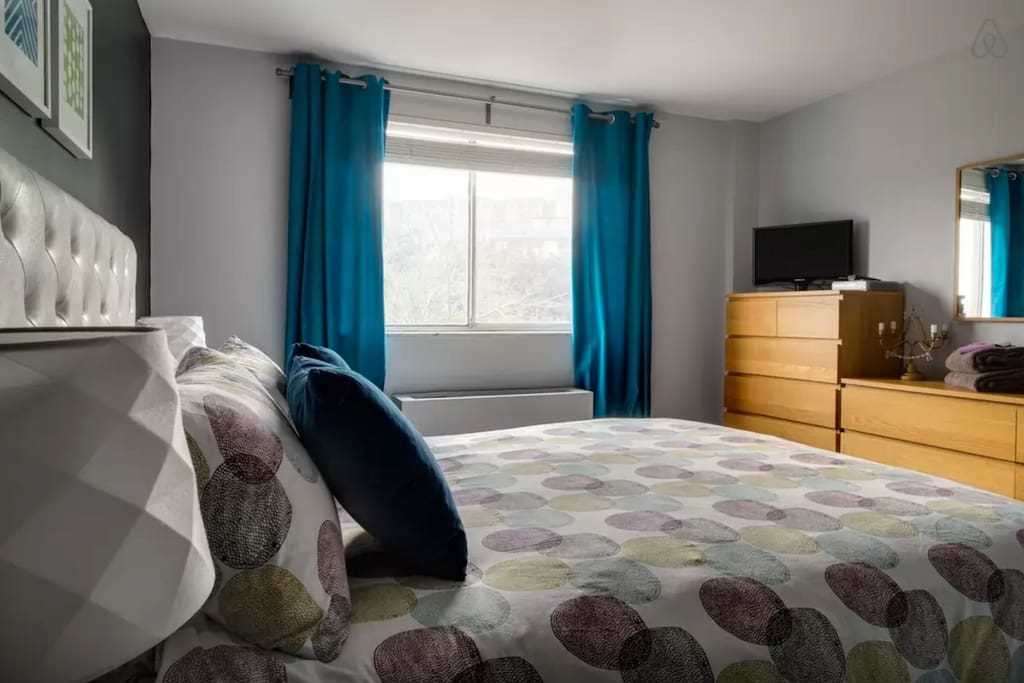Newly redecorated bedroom with super comfortable, pillow-top queen bed.