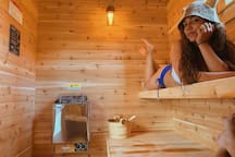 Inside the new sauna!