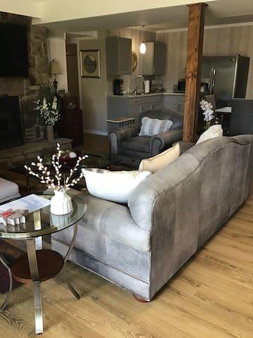 Living room, kitchenette in background.