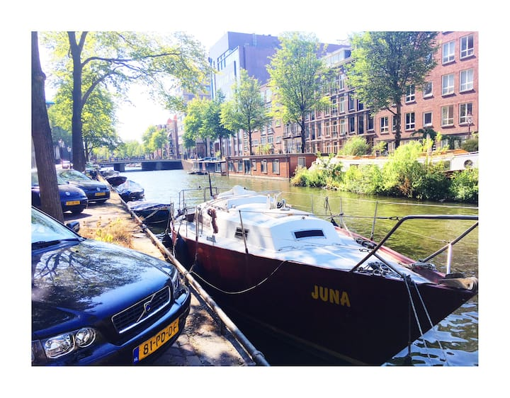 adventurous boat in centre of Amsterdam