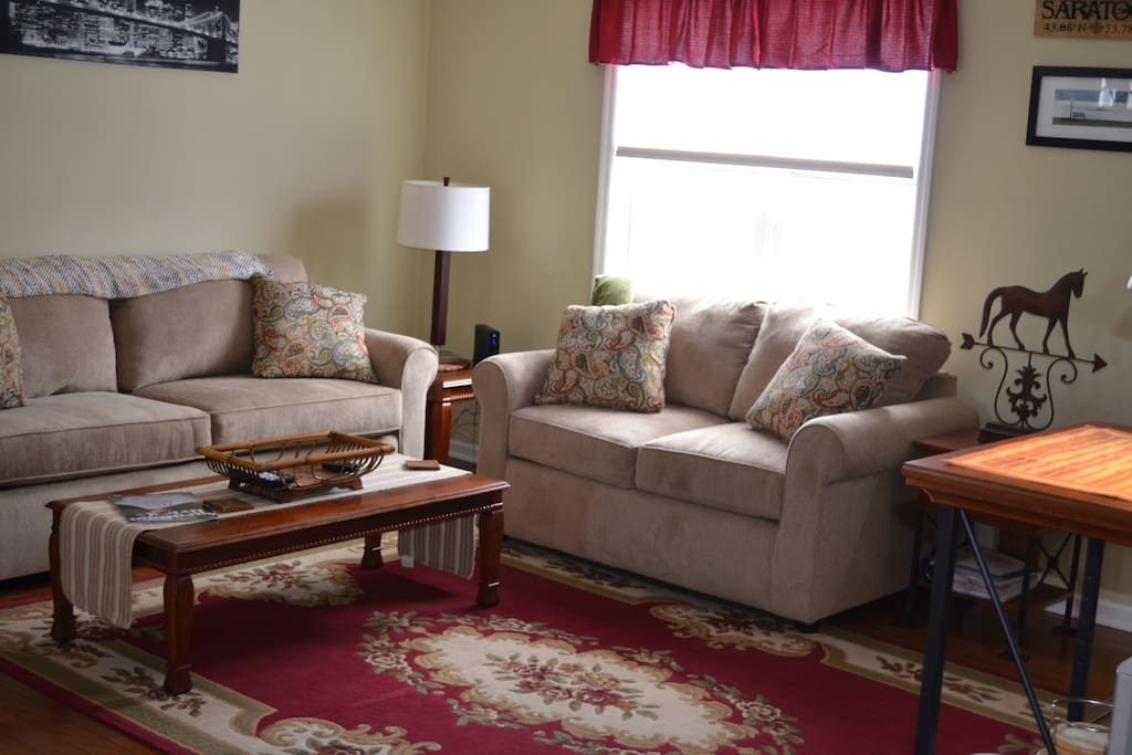 sofa opens up to a queen bed with upgraded mattress.