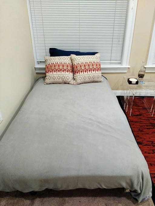 Sofa converts to twin bed with memory foam mattress