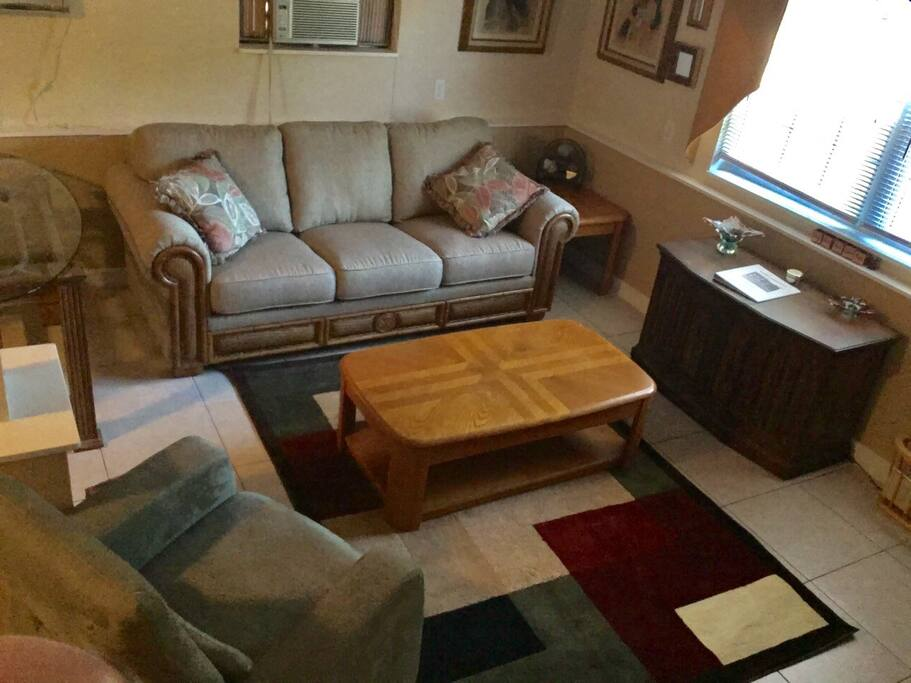 """Living room with queen pull out sofabed, 42"""" TV with Ruko (no cable TV). Includes Netflix, Amazon Prime Video, Hulu, Nat'l News and a few other cable channels."""