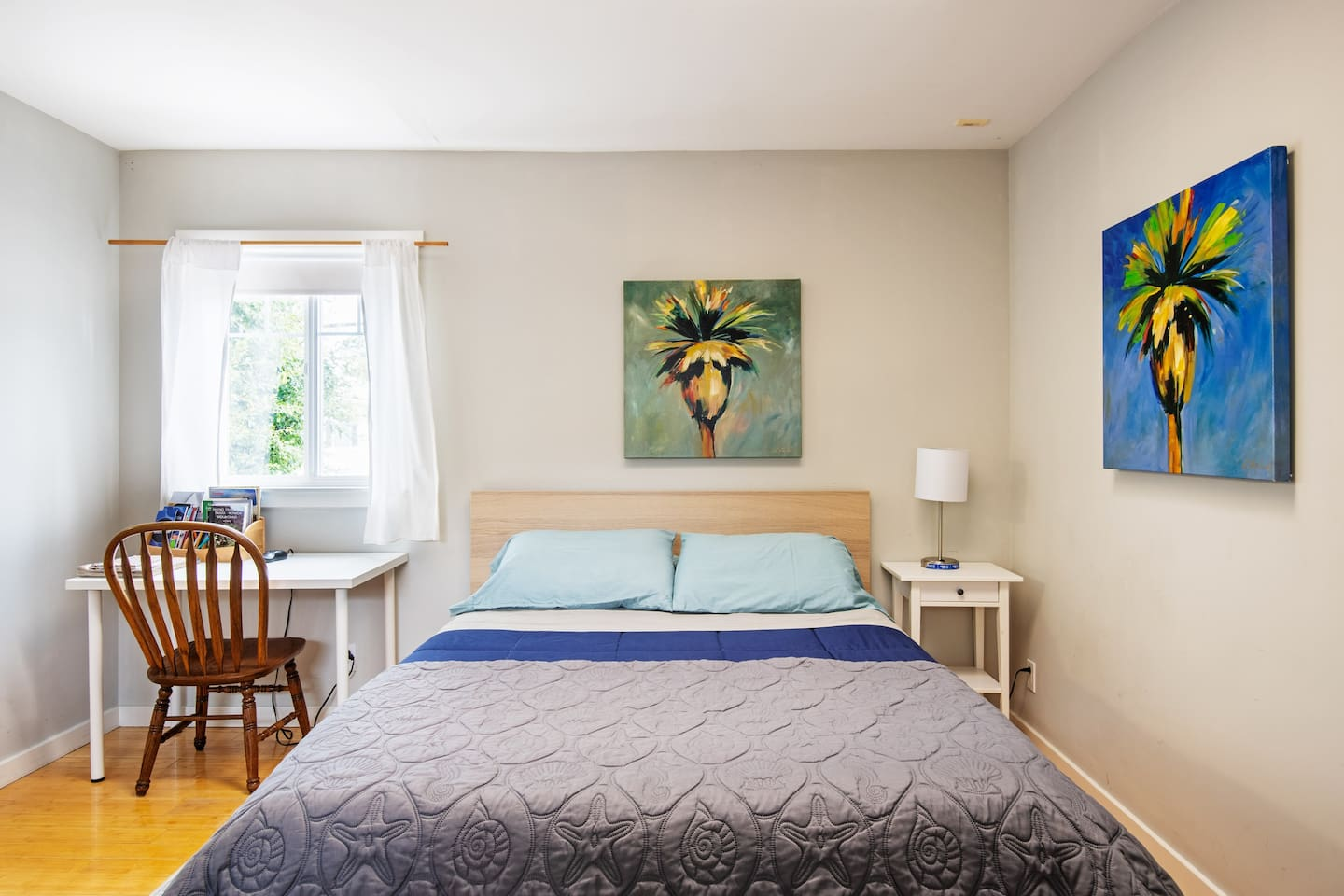 Your home away from home includes a brand new queen memory foam mattress and USB port on bedside lamp.