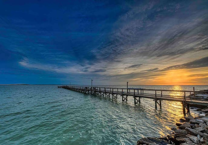 """Private pier, """"Flounder Flats"""" Cabin on Copano Bay"""
