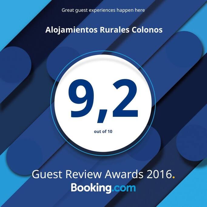 Puntuación de los clientes de Booking año 2016.