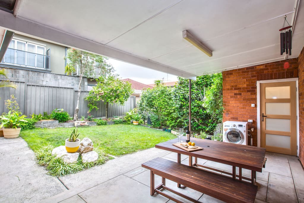 Great garden for entertaining, includes a bbq and sheltered patio area located at the gated rear of property.