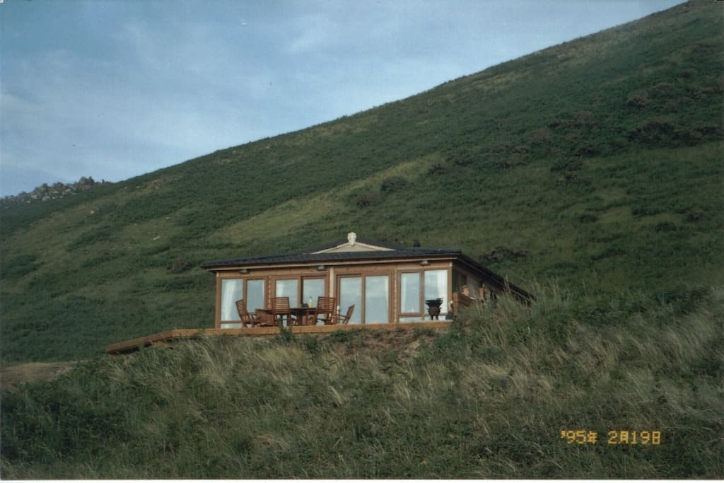 View of lodge when coming up from the beach over sandunes
