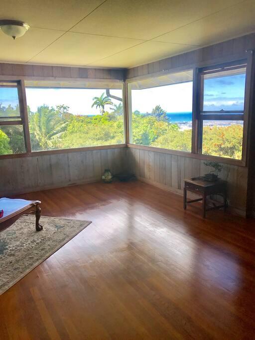 Living room view of ocean