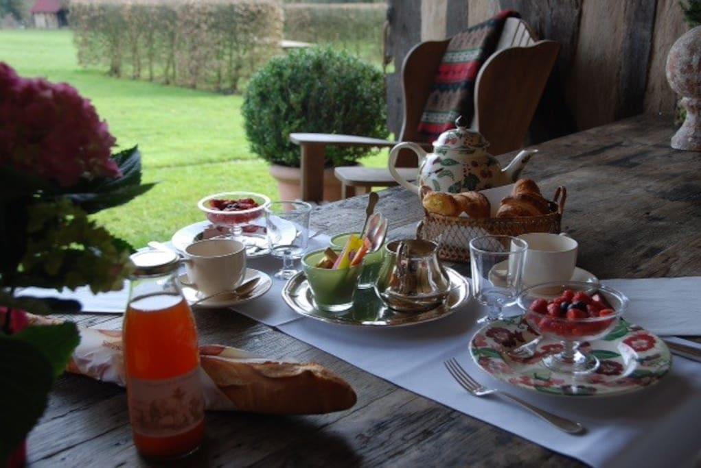Breakfast on covered terrace