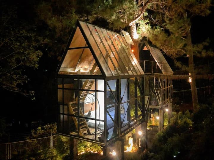Twin Glass Treehouse at Tudor in the Pines