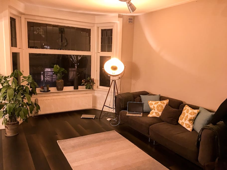 Cosy living room at night