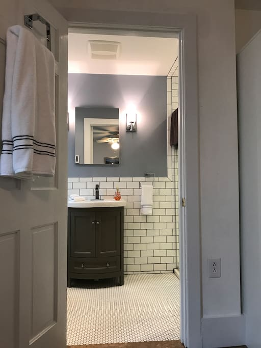 Subway Tile Bathroom Private for White Bedroom