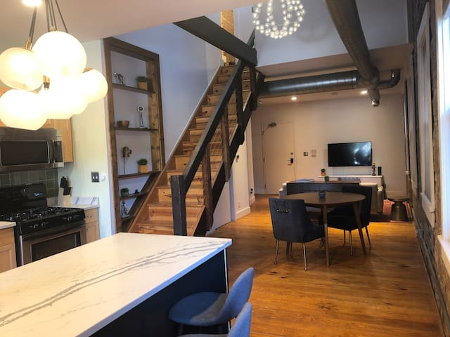 30ft ceiling, unique open loft, large private deck
