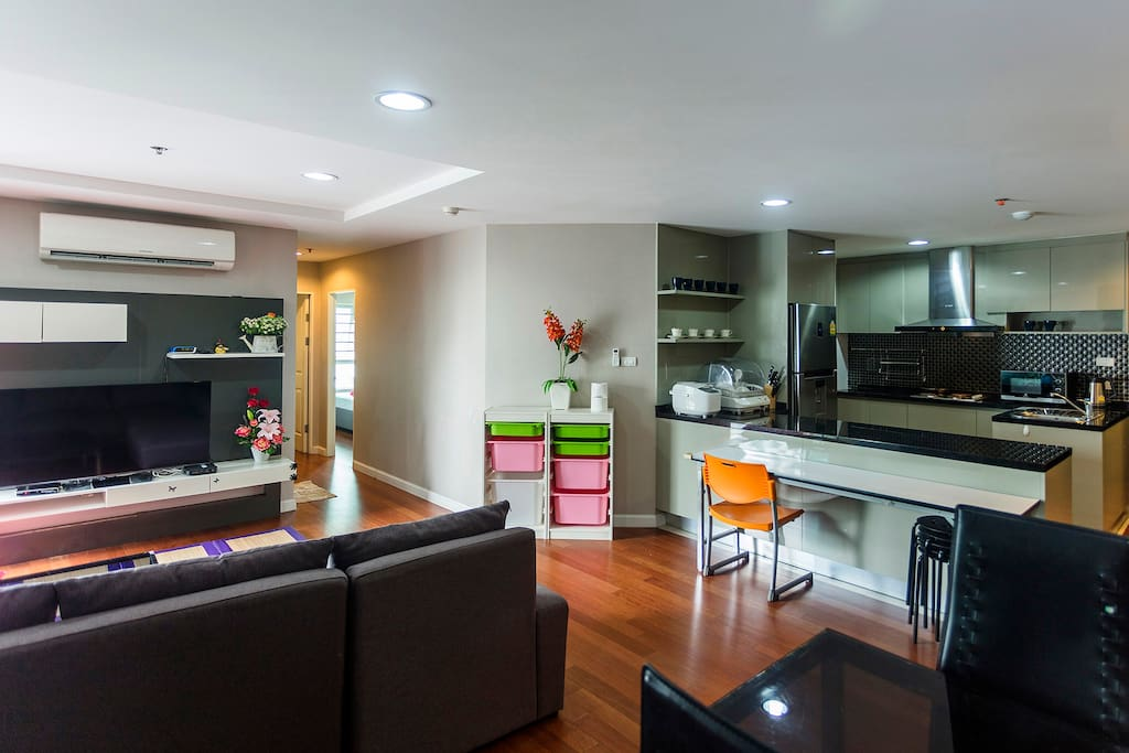 Living Room with Open Modern Kitchen