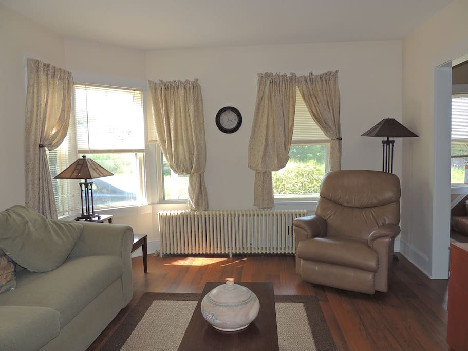 Comfortable living room on first floor with a pull out sofa bed.